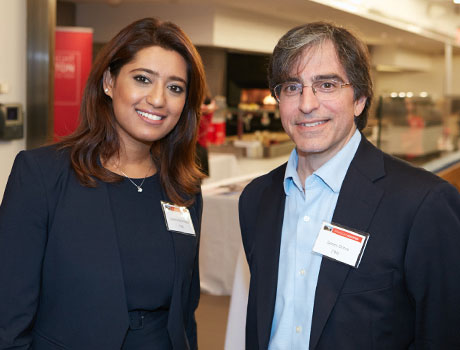 Subrina Mahmood (MBA '15) and James Ontra ('94) at the Highlight Houston event at the NFL Headquarters in NYC