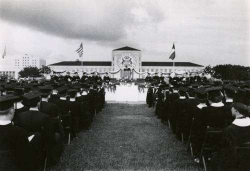 Outdoor commencement ceremony.. Special Collections, University of Houston Libraries. University of Houston Digital Library.