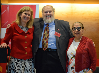 "Vice President Eloise Brice, Dr. Michael A. Olivas and Dr. Augustina ""Tina"" Reyes at the 2017 Faculty & Staff Campaign Celebration"