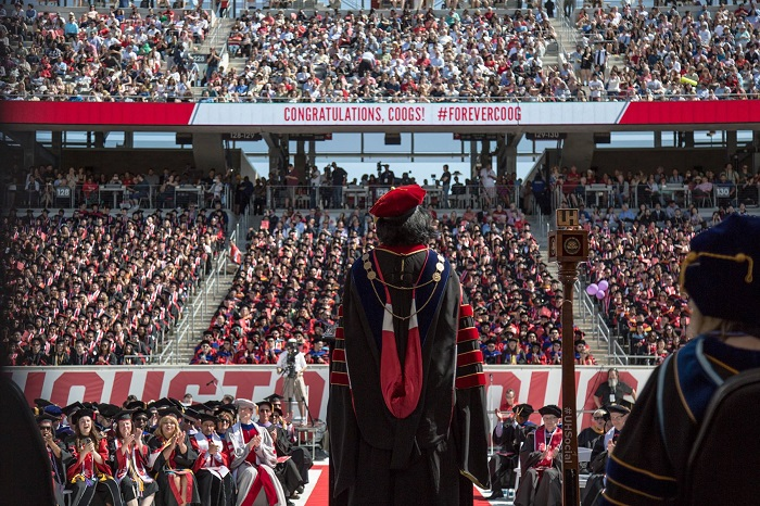 President Renu Khator addresses graduates at the 2017 Commencement ceremony in TDECU Stadium. Photo: University of Houston Facebook