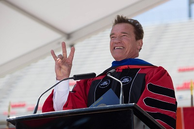 Arnold Schwarzenegger delivering the 2017 commencement address at TDECU Stadium. Photo: University of Houston Facebook